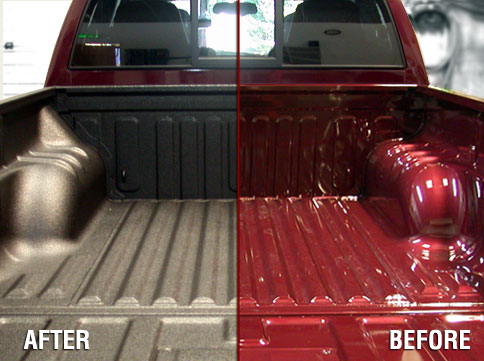 Before and after shot of a truck bed with a custom bed liner and one without