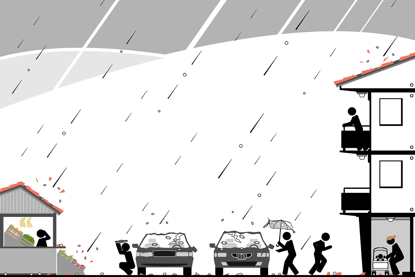 Stick figure men and women running for shelter from unexpected hail storm. 